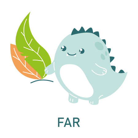 Cute dinosaur far from the leaves, learning preposition vector isolated. Preschool education, study position of the object. Funny dino standing far away from plants.