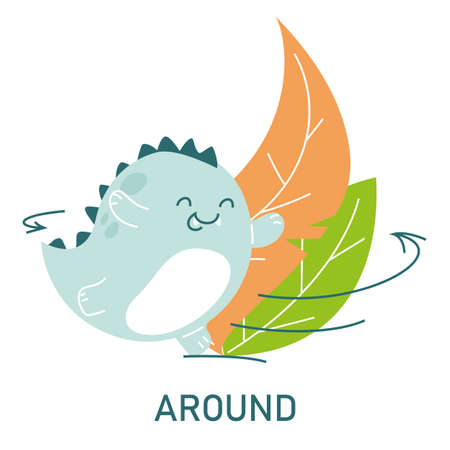 Cute dinosaur running around the leaves, learning preposition vector isolated. Preschool education, study position of the object. Funny dino at plants. Фото со стока - 165310404