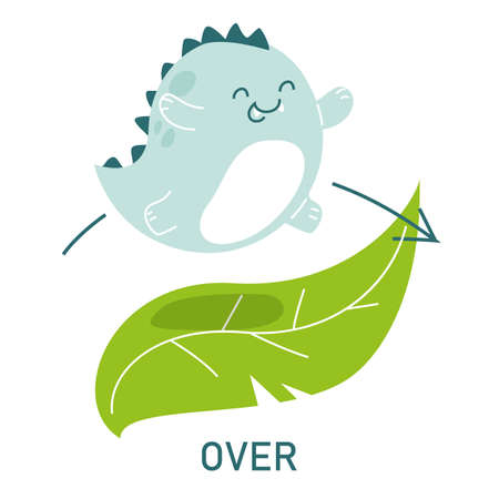 Cute dinosaur jumping over the leaves, learning preposition vector isolated. Preschool education, study position of the object. Funny dino standing near plants.