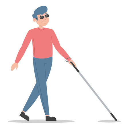 Blind man walking with cane vector isolated. Disabled male character in sunglasses, person without vision. Handicapped man using stick for walking. Young adult, problem with health. Иллюстрация