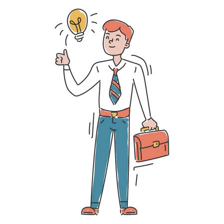 Businessman with idea vector isolated. Great solution, light bulb as a metaphor of idea. Genius and innovative strategy. Illustration in doodle style. Иллюстрация