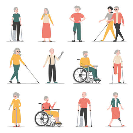 Old disabled people set. Collection of characters with disability. Blind and handicapped women and men. Senior people with prosthetic arms and legs. Wheelchairs and crutches.