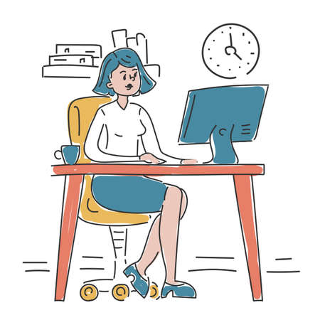 Businesswoman sitting at the desk in office and working vector isolated. Doodle illustration of busy office worker. Employee at the computer. Happy female executive.
