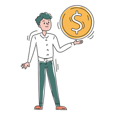 Businessman with a big golden coin vector isolated. Doodle illustration of a male character holding a giant dollar coin. Idea of investment and business profit. Money savings.