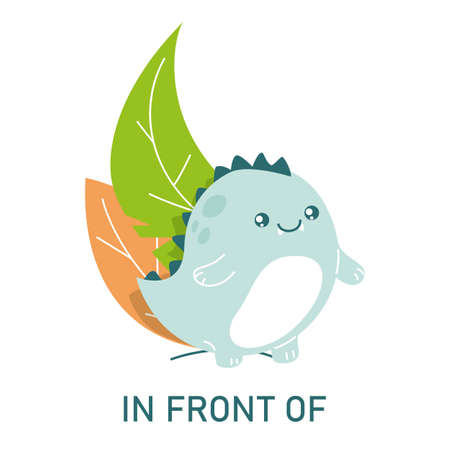 Cute dinosaur standing in front of the leaves, learning preposition vector isolated. Preschool education, study position of the object. Funny dino at plants.