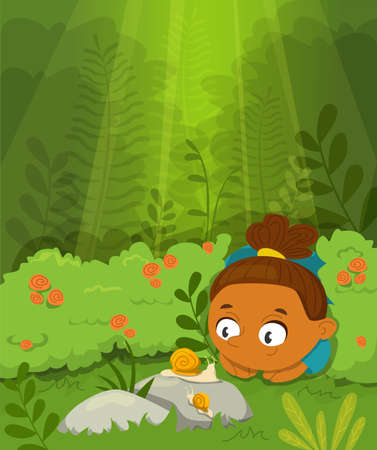 Happy little child looking at the snails vector illustration. Green nature, summer time. Girl in the forest, cute curious character exploring the world outside.