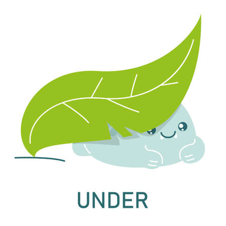 Cute dinosaur hiding under the leaf, learning preposition vector isolated. Preschool education, study position of the object. Funny dino and green plant. Иллюстрация