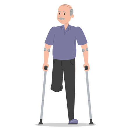 Senior man on crutches vector isolated. Injured man, amputated leg. Concept of people with disability. Handicapped grandfather. Injured person.