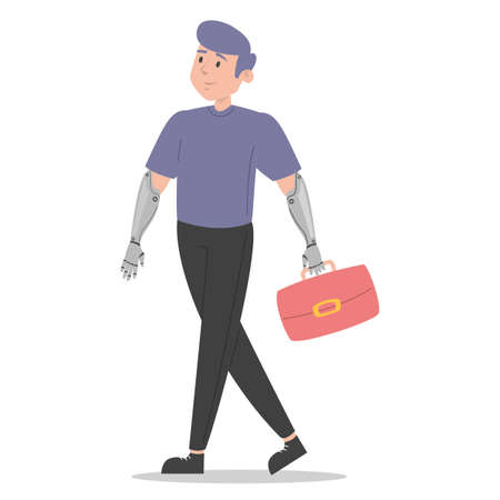Man with prosthetic arms vector isolated. Bionic limbs, amputee male person. Concept of people with disability. Happy handsome man walking with artificial arms.