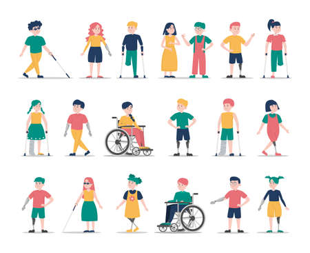 Disabled children set. Collection of kid characters with disability. Deaf, blind and handicapped boys and girls. Prosthetic arms and legs. Boy in a wheelchair, injured girl with crutches. Иллюстрация