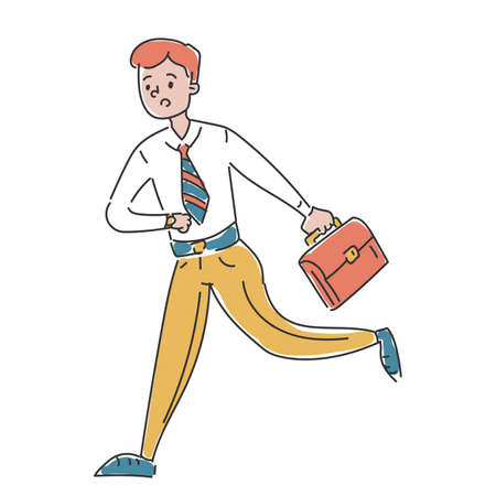 Businessman in a hurry vector isolated. Doodle illustration of male character looking at watch running to the office. Guy in stress.