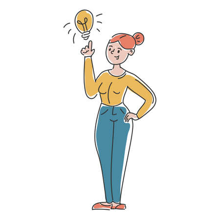 Businesswoman with idea vector isolated. Great solution, light bulb as a metaphor of idea. Genius and innovative strategy. Illustration in doodle style.