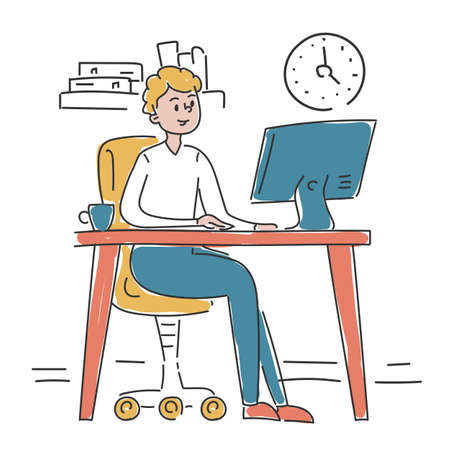 Businessman sitting at the desk in office and working vector isolated. Doodle illustration of busy office worker. Employee at the computer. Happy male executive. Фото со стока - 165718419