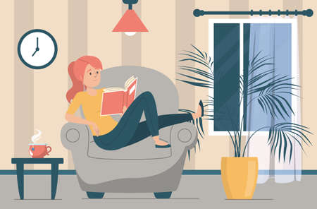 Woman reading book. Female character sitting in the armchair and holding book. Person at home, domestic relaxation. Living room interior. Иллюстрация