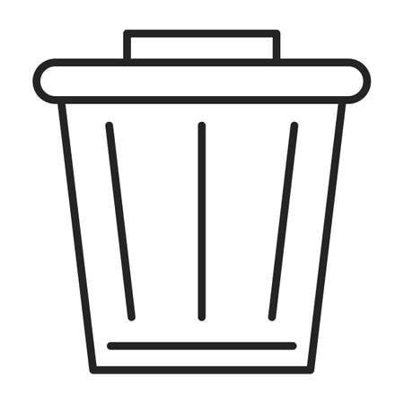 Trashcan icon vector isolated. Outlined symbol of a trash bin for garbage. Container for waste utilization. Delete button on computer.