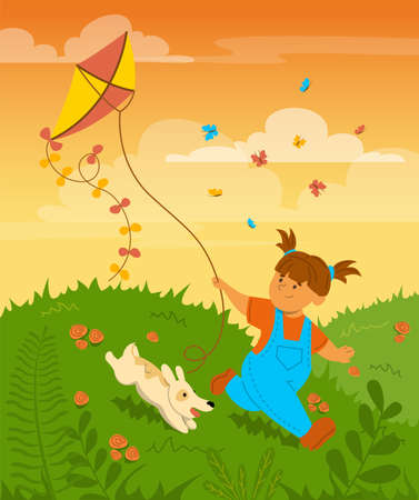Happy little child playing with a kite vector illustration. Kid having fun with a dog, cute girl running on the field. Colorful sunset on the background. Outdoor activity, childhood concept. Фото со стока - 166204875