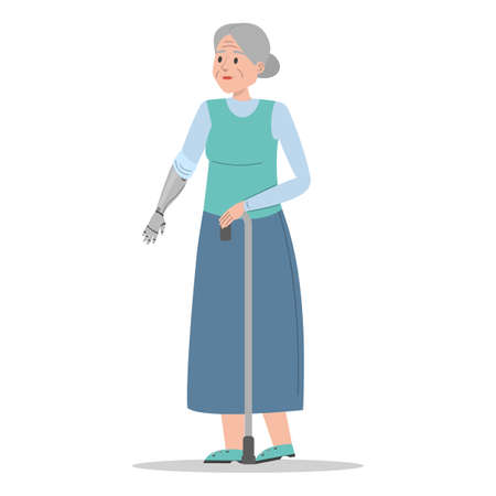 Old disabled woman vector isolated. Senior lady with prosthetic arm, elderly amputee. Grandmother walking with a stick. Handicapped person.