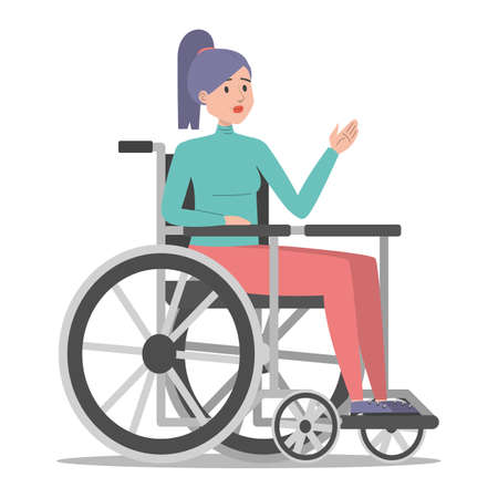 Disabled woman in the wheelchair vector isolated. Handicapped person, young girl. Problem with health. Female person with disability.