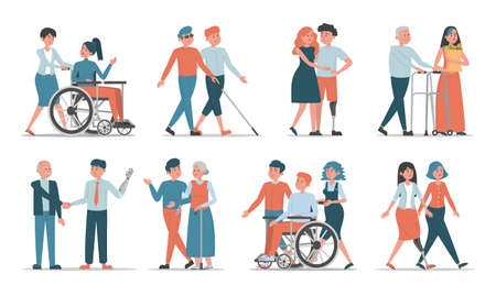 Set of disabled people with friends and family vector isolated. Idea of help and support. Happy characters spend time together. People with disability communicate othe people.