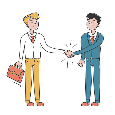 Business agreement vector isolated. Handshake between two businessmen, teamwork concept. Professional occupation. Иллюстрация