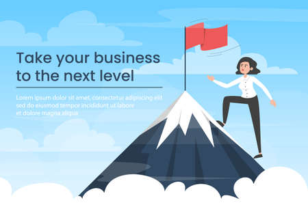 Businesswoman moving towards victory. Take your business to the next level banner. Vector illustration of woman in suit on top of the mountain with red flag as symbol of success and goal achievement.