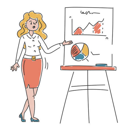 Business person showing presentation vector isolated. Doodle illustration of businesswoman presenting sales chart. Office worker on seminar.