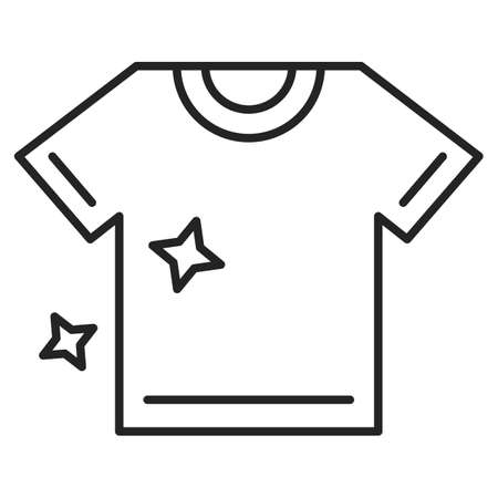 Clean tee after washing icon vector isolated. Symbol of clothing, simple outlined shape. Line t-shirt. Иллюстрация