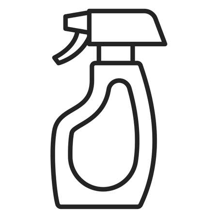 Spray bottle icon vector isolated. Line symbol of a chemical liquid in plastic bottle. Outlined container.