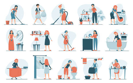 Housework set vector isolated. Collection of women doing house work. Vacuum cleaning, clothes ironing, cooking, wiping dust. Female characters cleaning window and mirror.