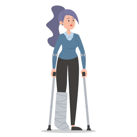 Woman on crutches with a broken leg in gypsum vector isolated. Injured female character. Disabled person standing.