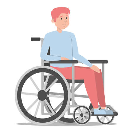 Disabled man in the wheelchair vector isolated. Handicapped person, young guy. Problem with health. Male person with disability.