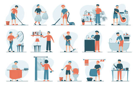Housework set vector isolated. Collection of men doing house work. Vacuum cleaning, clothes ironing, cooking, wiping dust. Male characters cleaning window and mirror.