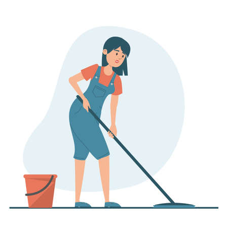 Housewife washing floor at home vector isolated. Illustration of a woman doing domestic work. Female character holding mop, red bucket with water standing near. Иллюстрация