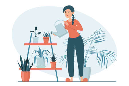 Woman watering plants in pots vector isolated. Illustration of a female character taking care of house plants. Gardening concept. Beautiful potted plants.