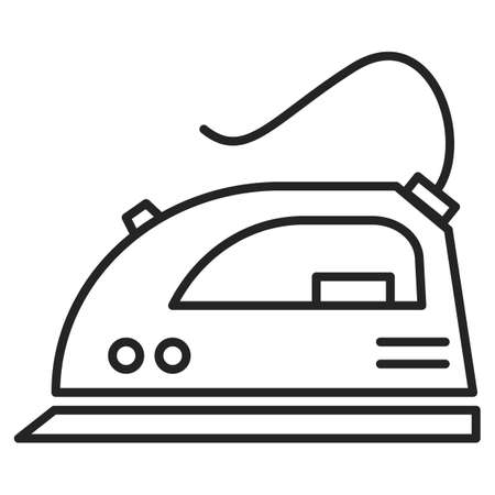 Iron vector isolated icon. Outlined symbol of a household appliance. Concept of a housework tool, electric equipment for clothing. Иллюстрация
