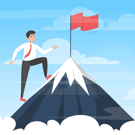 Businessman moving towards victory. Take your business to the next level concept. Vector illustration of man in suit on top of the mountain with red flag as a symbol of success and goal achievement.