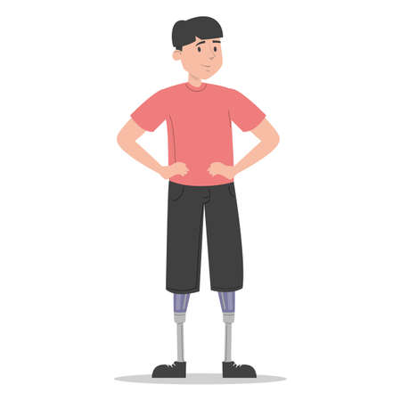 Happy young man with prosthetic legs vector isolated. Illustration of young adult wearing a prosthesis. Handicapped person, male character with artificial limbs. Фото со стока - 167038501