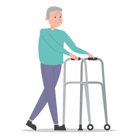 Old man walking using walker vector isolated. Smiling senior person, man on retirement. Concept of people with disability. Иллюстрация