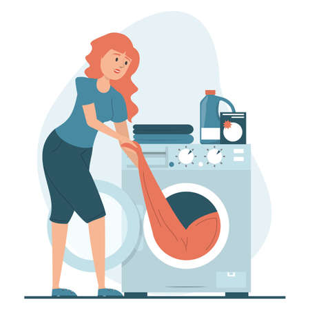 Woman puts clothing in the washing machine vector isolated. Daily routine of a housewife. Domestic work, washing dirty clothes.