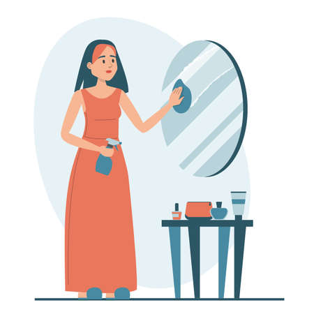 Woman cleaning the mirror vector isolated. Female character wiping mirror using cloth and spray. Housewife daily routine. Иллюстрация
