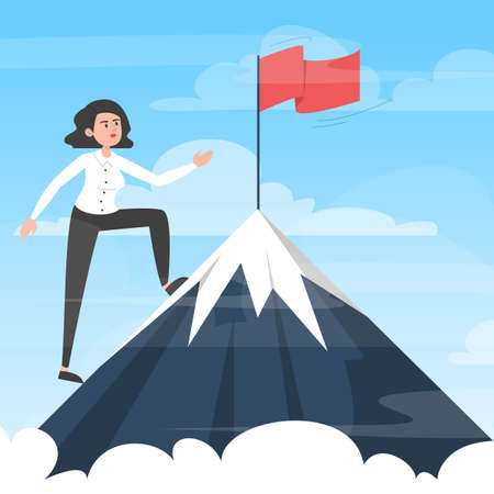 Businesswoman moving towards victory. Take your business to the next level concept. Vector illustration of woman in suit on top of the mountain with red flag as symbol of success and goal achievement. Иллюстрация