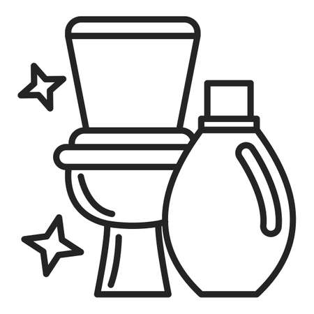 Clean toilet vector isolated icon. Outlined symbol of a toilet and detergent in plastic bottle. Hygiene in lavatory. Daily domestic routine.