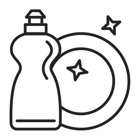 Icon of a clean dish and detergent in a plastic bottle vector isolated. Outlined symbol of a crockery and washing equipment. Иллюстрация