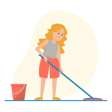 Child washing floor at home vector isolated. Illustration of a kid doing domestic work. Girl holding mop, red bucket with water standing near.