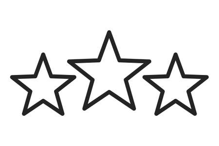 Three stars icons vector isolated. Symbol of success. Line art style, rating and evaluation. Иллюстрация