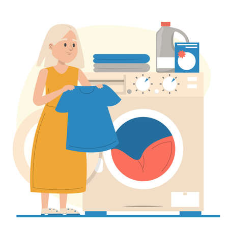 Girl puts clothing in the washing machine vector isolated. Daily routine. Domestic work, kid washing dirty clothes. Иллюстрация