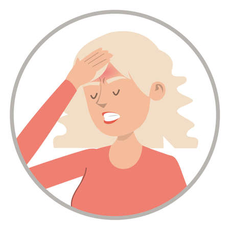 Woman feel headache vector isolated. Pain in head, stress and problems. Symptom of disease. Иллюстрация