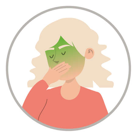 Woman feel nausea vector isolated. Symptom of disease and illness. Pain in stomach, green face. Abdomen problems. Иллюстрация