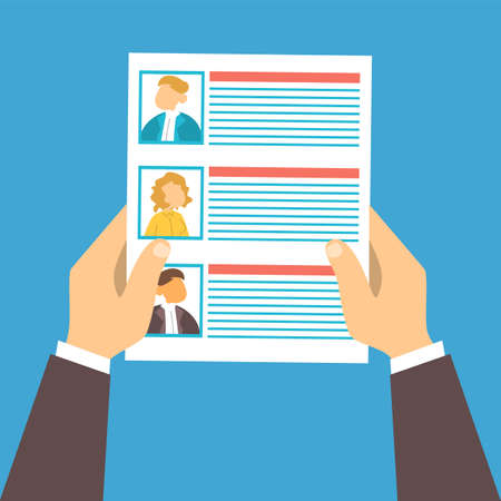 Hand holding paper sheet with list of job candidates vector isolated. Recruitment and human resources concept. Headhunting, searching for employee. Иллюстрация