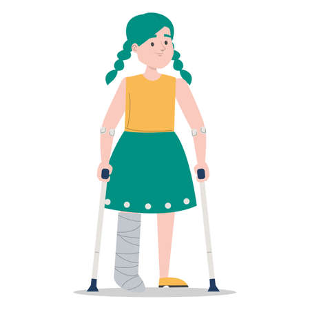 Little girl on crutches with a broken leg in gypsum vector isolated. Injured child. Disabled person standing.